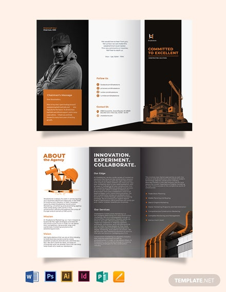 construction company profile tri fold brochure template 440