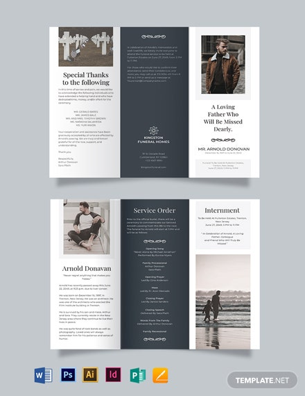 Free Editable Burial Funeral Tri-Fold Brochure Template