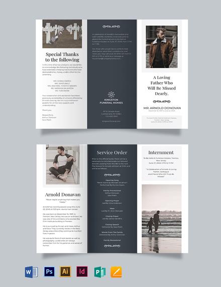 Editable Burial Funeral Tri-Fold Brochure Template