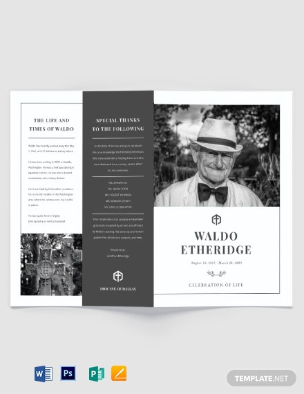 Free Editable Life Celebration Funeral Bi-Fold Brochure Template