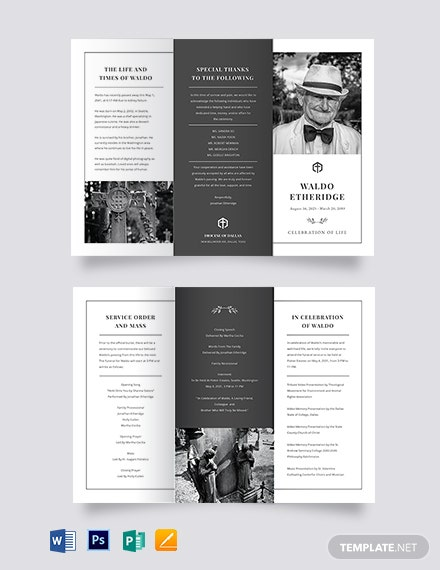 Editable Life Celebration Funeral Tri-Fold Brochure Template