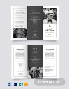 Free Editable Life Celebration Funeral Tri-Fold Brochure Template