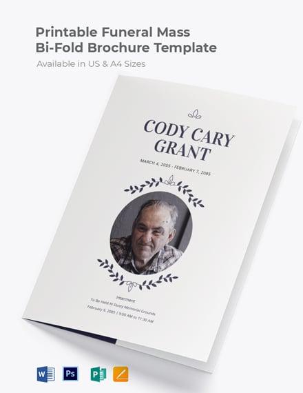 Free Printable Funeral Mass Bi-Fold Brochure Template