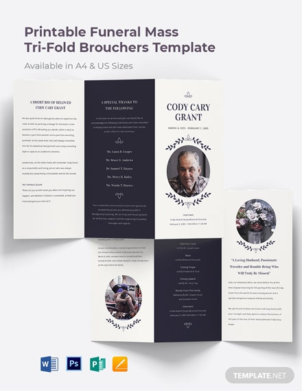 Free Printable Funeral Mass Tri-Fold Brochure Template