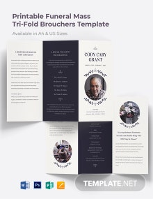 Printable Funeral Mass Tri-Fold Brochure Template