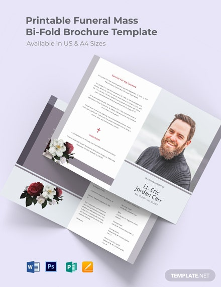 Free Printable Funeral Program Bi-Fold Brochure Template