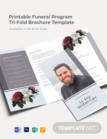 Free Printable Funeral Program Tri-Fold Brochure Template