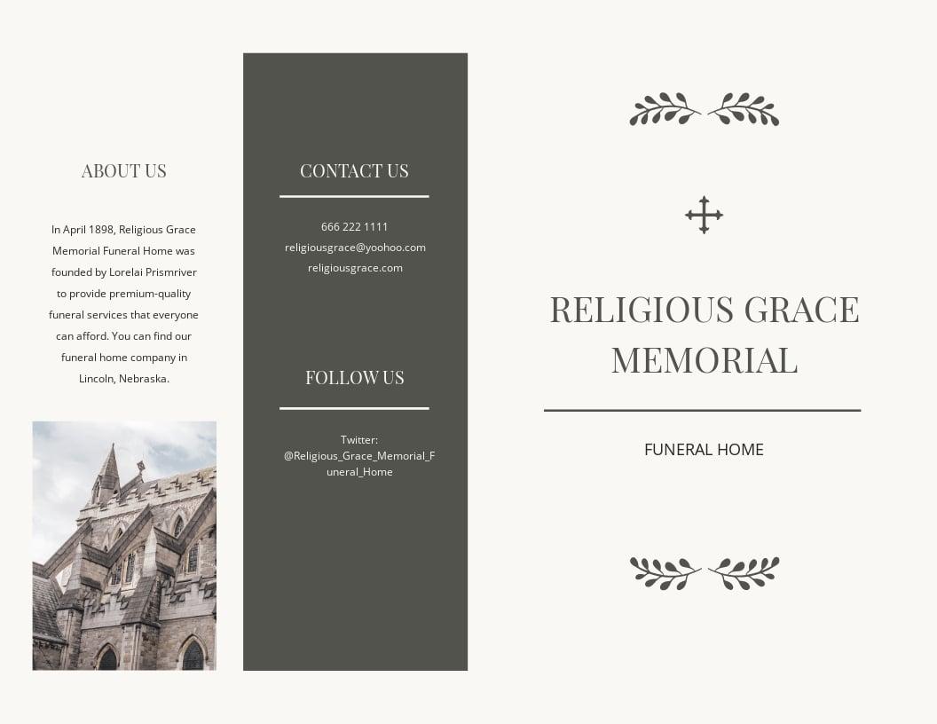 Religious Funeral Memorial Bi Fold Brochure Template.jpe