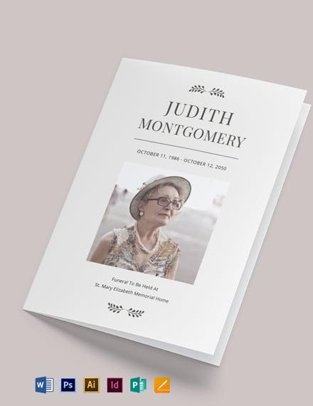 Religious Funeral Memorial Bi-Fold Brochure Template