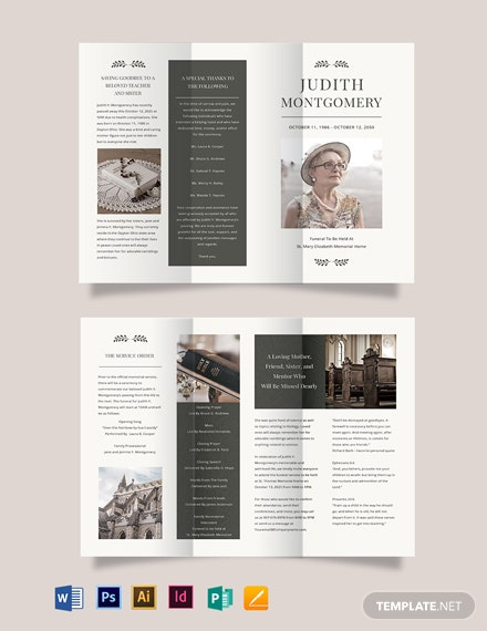 Religious Funeral Memorial Tri-Fold Brochure Template