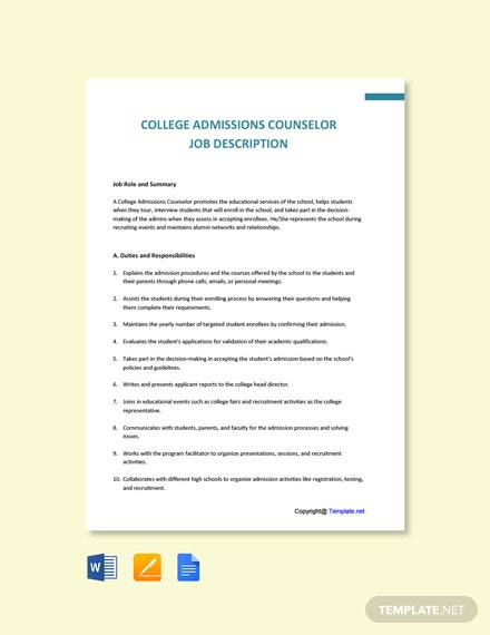 Free College Admissions Counselor Job Description Template