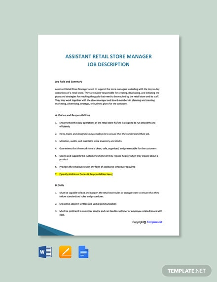 Free Assistant Retail Store Manager Job Description Template