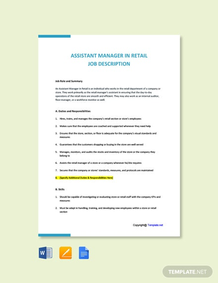Free Assistant Manager In Retail Job Description Template