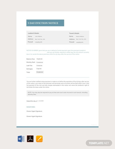 free 5 day eviction notice template 440x570 1