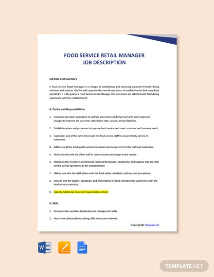 Free Food Service Retail Manager Job Description Template