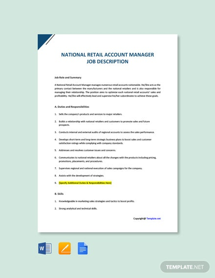 Free National Retail Account Manager Job Description Template