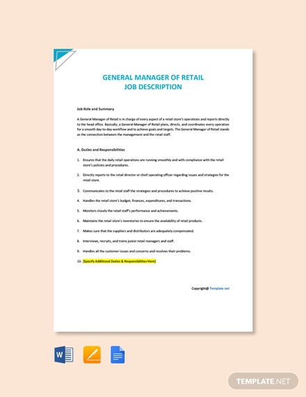 Free General Manager of Retail Job Description Template