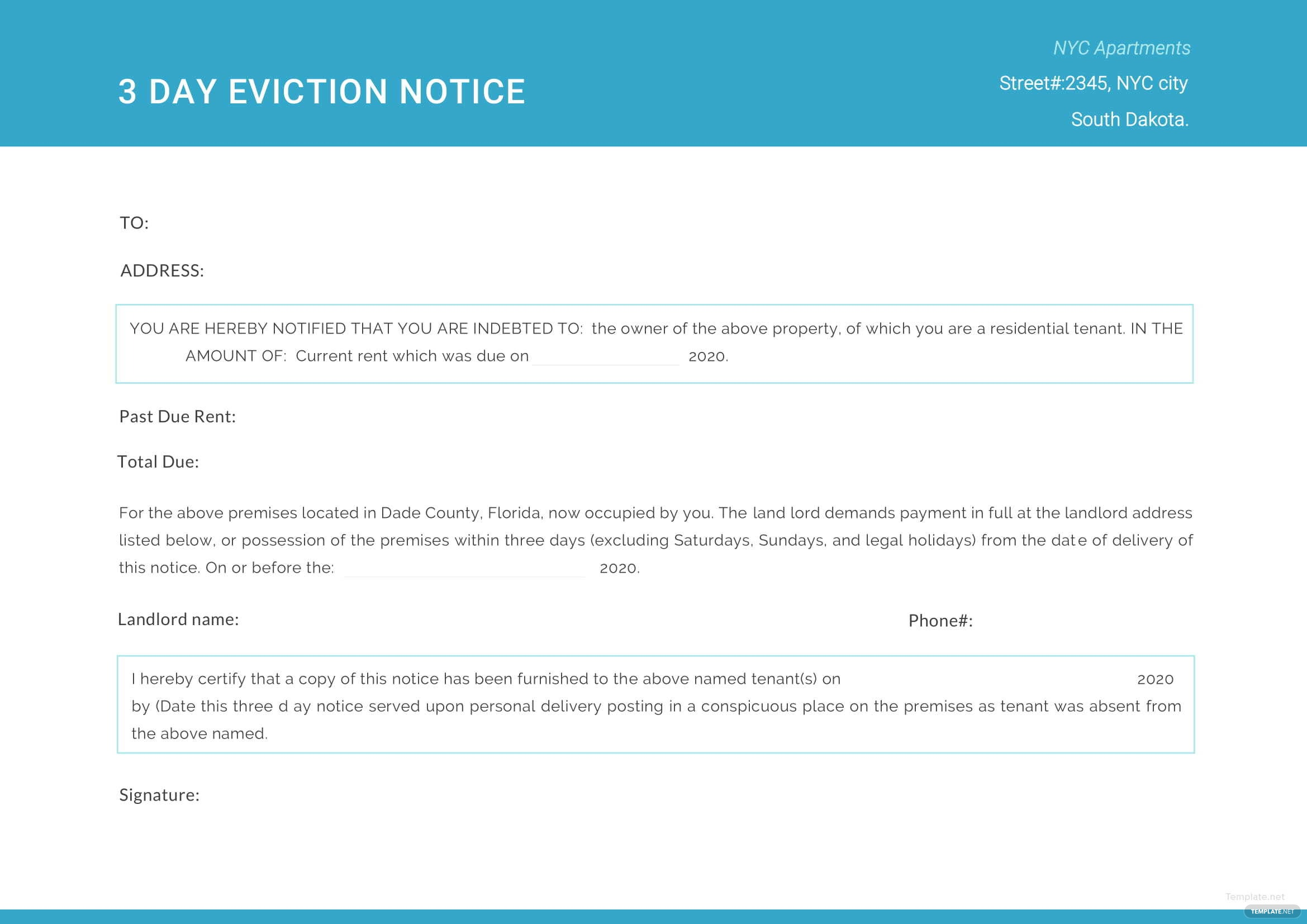 Day Eviction Notice Template In Microsoft Word Apple Pages PDF - 3 day eviction notice template