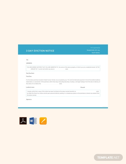 Free 3 Day Eviction Notice Template