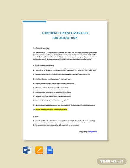 Free Corporate Finance Manager Job Description Template