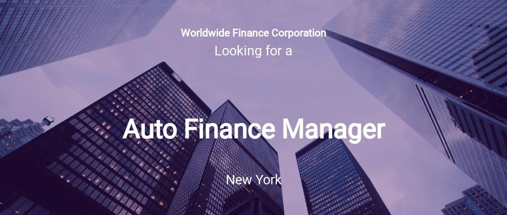 Auto Finance Manager Job Description Template