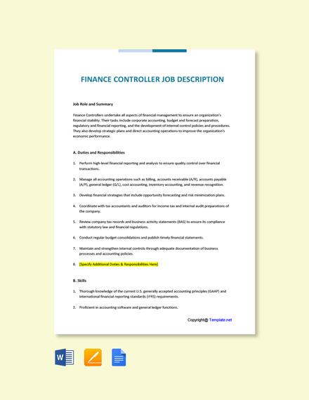 Free Finance Controller Job Description Template
