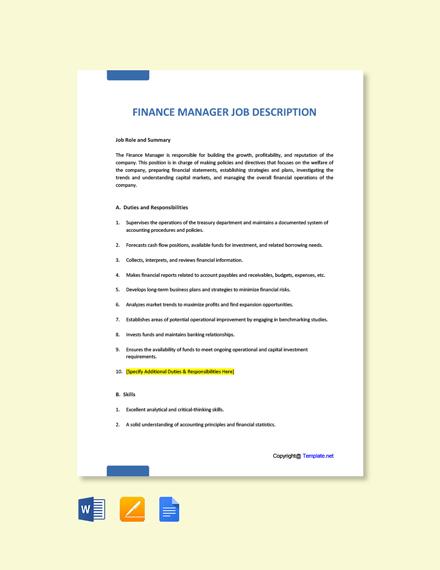 Free Finance Manager Job Description Template