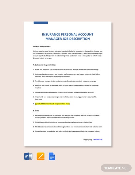 Free Insurance Personal Account Manager Job Description Template