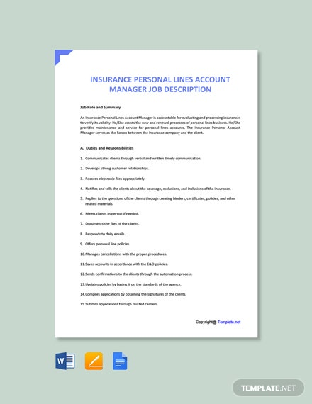 Free Insurance Personal Lines Account Manager Job Description Template