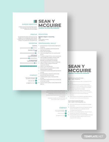 General Accounting Manager Resume Download