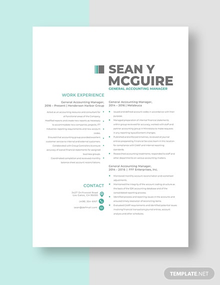 General Accounting Manager Resume Template [Free Pages] - Word, Apple Pages
