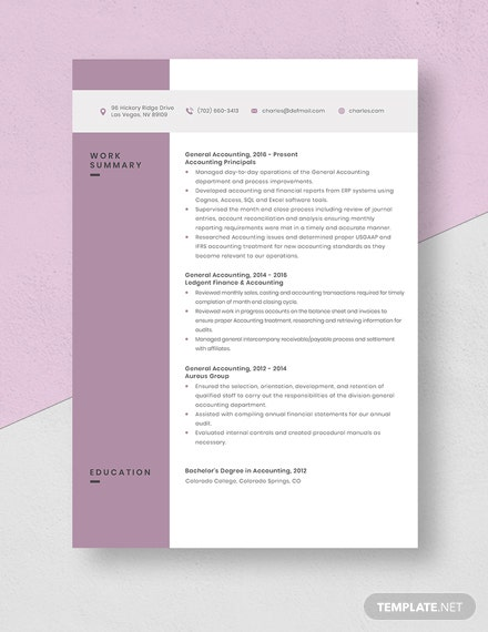 General Accounting Resume Template