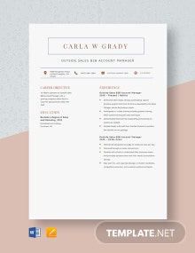 Outside Sales B2B Account Manager Resume Template