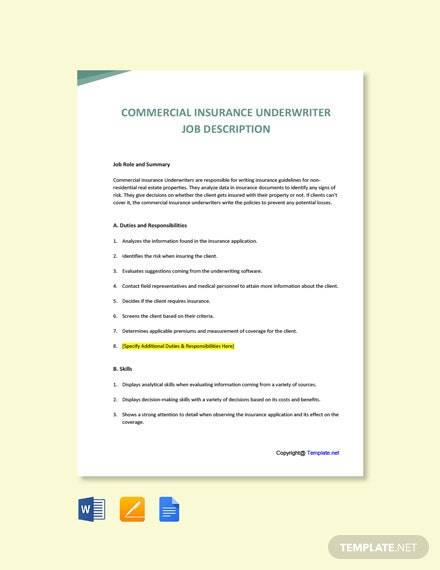 Free Commercial Insurance Underwriter Job Description Template
