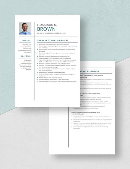Hospital Insurance Representative Resume Download
