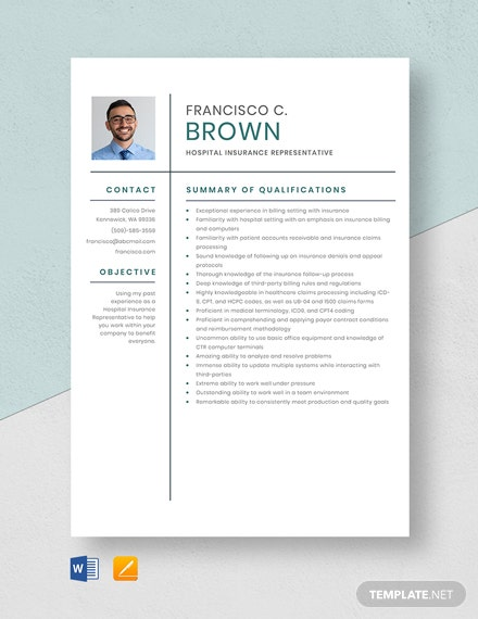 Hospital Insurance Representative Resume Template