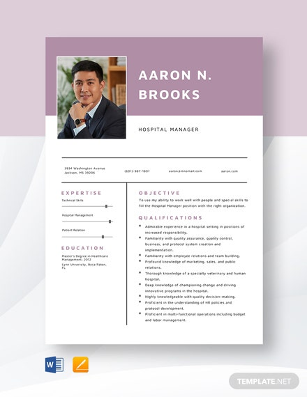 Hospital Manager Resume Template