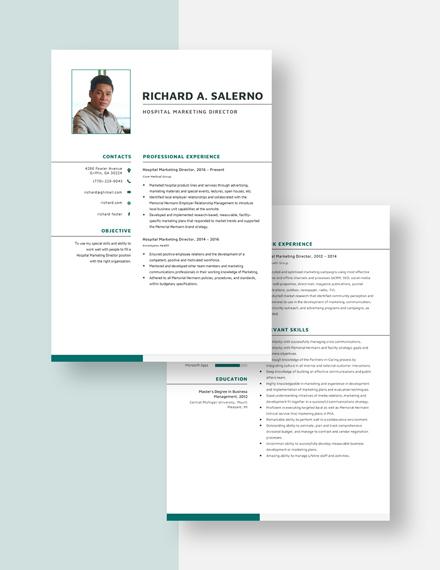 Hospital Marketing Director Resume Download