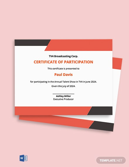 Free Talent Show Participation Certificate Template