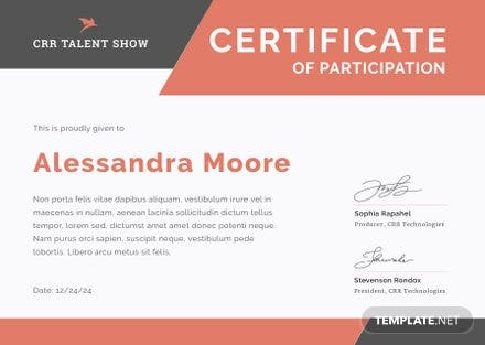 Talent show participation certificate template free for Talent show certificate template