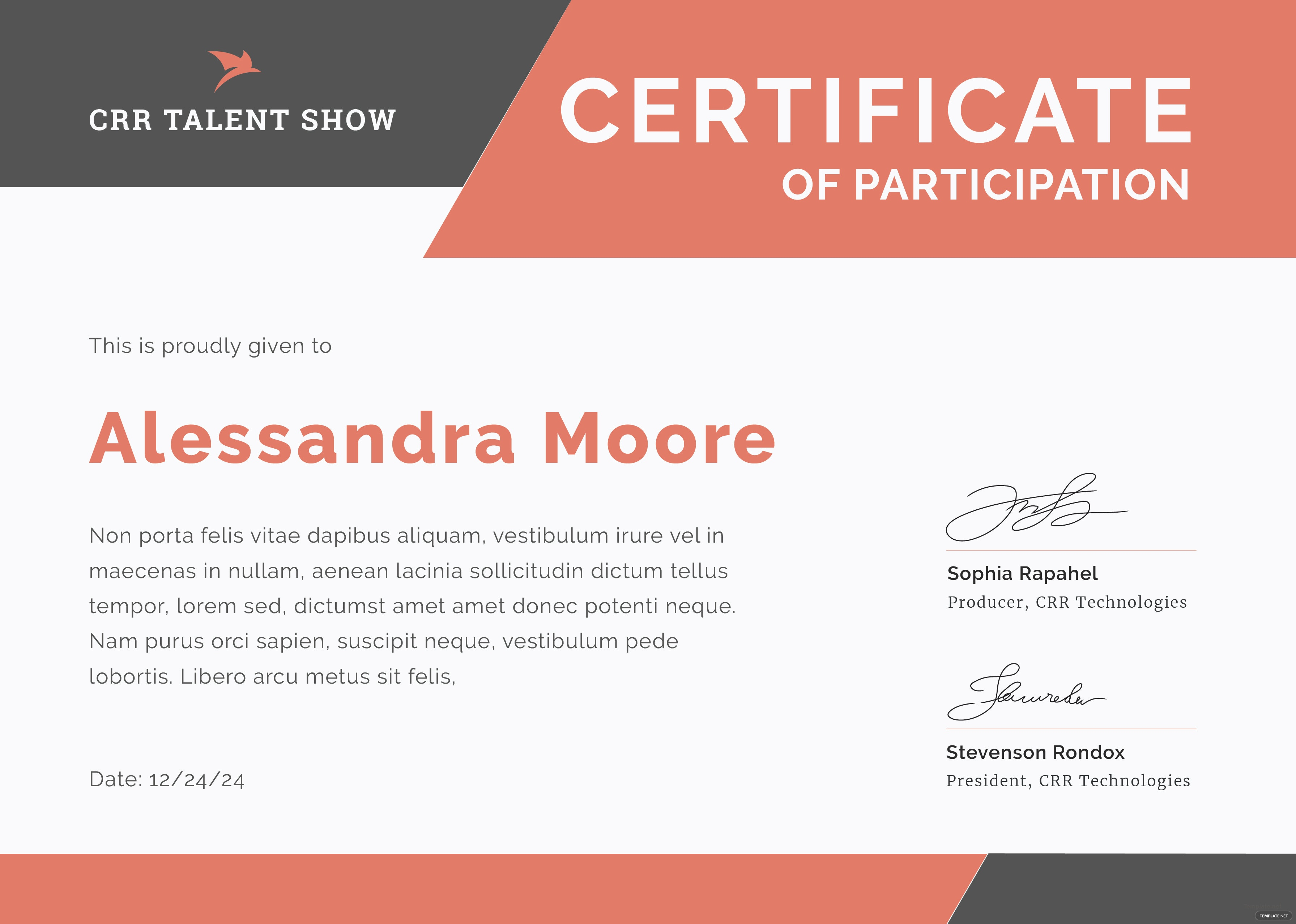 talent show participation certificate template in adobe