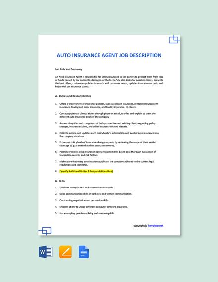 Free Auto Insurance Agent Job Description Template