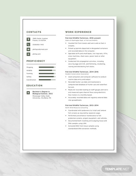 Fish And Wildlife Technician Resume Template