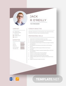 Fish Processor Resume Template