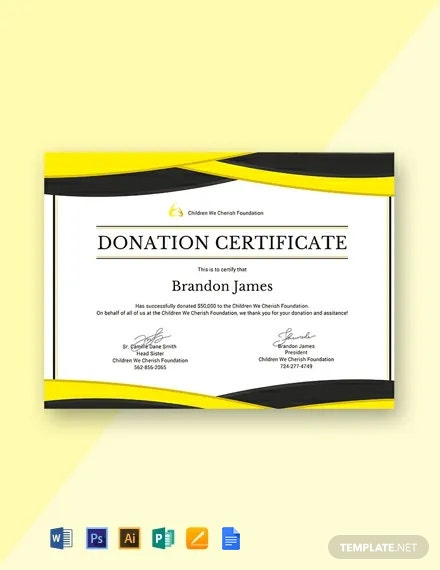 Free Donation Certificate Template