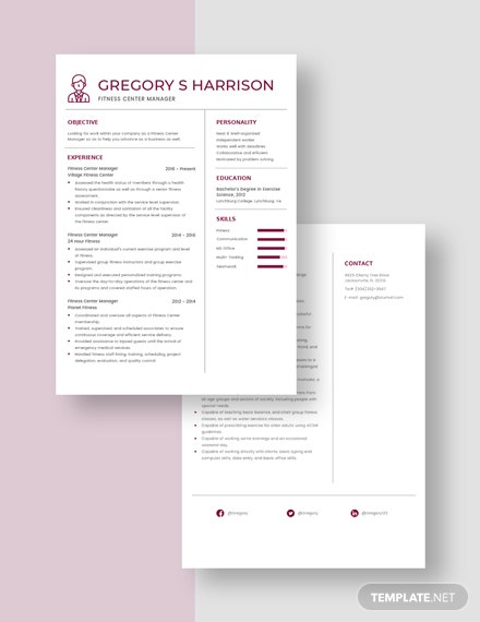 Fitness Center Manager Resume Download