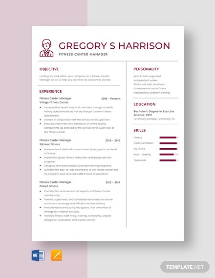 Fitness Center Manager Resume Template