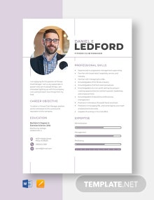 Fitness Club Manager Resume Template