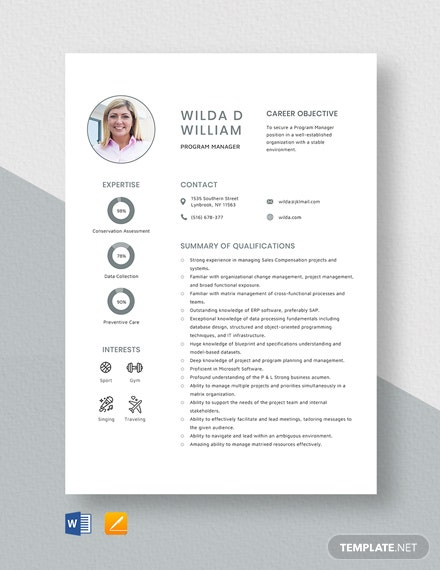 Program Manager Resume Template