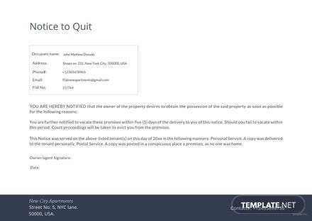 Notice to Quit Template